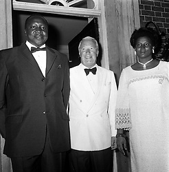 The Prime Minister Mr Edward Heath at No 10 Downing Street tonight with General Idi Amin, President of Uganda. The President, who seized power in January, is to have lunch with the Queen and to discuss ministers arms for Uganda, trade and financial aid.  * 16/8/03:  Idi Amin, the ruthless former dictator of Uganda and one-time darling of the British army, died. Amin, who was responsible for the deaths of hundreds of thousands of his countrymen in the 70s, had been on a life-support machine since July 18. He was 80, Ugandan officials said, though other sources had him born in 1925.