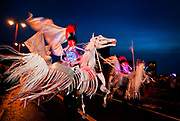 Shademakers' Equida†horse defying the rain in Britain's biggest and best illuminated night-time Carnival procession. The Night Carnival is made up of 2,000 dancers, drummers, lantern-carriers†and costumed masqueraders..Shademakers theme for 2011 deals with the subject of family, but a family of horses. It draws attention to the fact that horses have accompanied mankind throughout the development of the world we know..The Thames Festival celebrates London and the iconic river at its heart - the Thames - by dancing in the streets, feasting on bridges, racing on the river and playing at the water's edge..