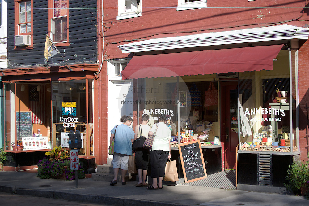 Tourists stop at Annebeth's, a shop along the trendy Maryland Road shopping district in Annapolis, Maryland.
