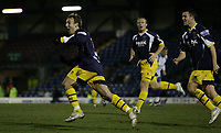 Photo: Paul Thomas.<br /> Bury v Weymouth. The FA Cup. 21/11/2006.<br /> <br /> Wayne Purser (L) of Weymouth celebrates his goal.