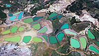 Aerial photo of Falougha colorful water reserves - Lebanon. <br /> <br /> By Bader Helal - Bader Photography