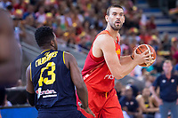 Spain's Marc Gasol and Venezuela's Nestor Colmenares during friendly match for the preparation for Eurobasket 2017 between Spain and Venezuela at Madrid Arena in Madrid, Spain August 15, 2017. (ALTERPHOTOS/Borja B.Hojas)