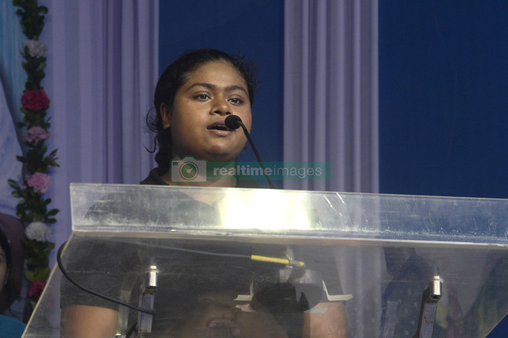 August 7, 2017 - Kolkata, West Bengal, India - Swimmer Sayani Das gives speech during the Sanskriti Diwas on the occasion of Raksha Bandhan festival in Kolkata. West Bengal Government sports and youth services department organized Sanskriti Diwas for harmony and solidarity on the occasion of Raksha Bandhan festival on August 7, 2017 in Kolkata. (Credit Image: © Saikat Paul/Pacific Press via ZUMA Wire)