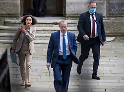 © Licensed to London News Pictures. 23/08/2021. London, UK. Foreign Secretary DOMINIC RAAB is seen leaving the Foreign Office in Westminster. Raab is under pressure after it was revealed that he failed to make a telephone call to Afghanistan's foreign minister to request assistance with evacuating Afghan interpreters. Photo credit: Ben Cawthra/LNP