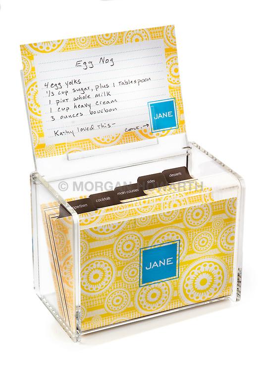 clear plexiglass recipe box
