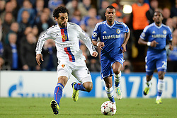 LONDON, ENGLAND - September 18: Basel's Mohamed Salah  runs with the ball during the UEFA Champions League Group E match between Chelsea from England and Basel from Switzerland played at Stamford Bridge, on September 18, 2013 in London, England. (Photo by Mitchell Gunn/ESPA)