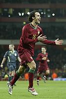 Photo: Marc Atkins.<br /> Brazil v Portugal. International Friendly. 06/02/2007. Ricardo Carvalho celebrates after scoring the 2nd goal for Portugal.