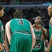17 March 2012: Chicago Bulls point guard John Lucas (15) talks to Chicago Bulls forward Taj Gibson (22) and his teammates during the Chicago Bulls 89-80 victory over the Philadelphia Sixers at the United Center, Chicago, Illinois, USA.