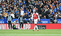 Arsenal's Ainsley Maitland-Niles is shown a red card by Referee Michael Oliver <br /> <br /> Photographer Hannah Fountain/CameraSport<br /> <br /> The Premier League - Leicester City v Arsenal - Sunday 28th April 2019 - King Power Stadium - Leicester<br /> <br /> World Copyright © 2019 CameraSport. All rights reserved. 43 Linden Ave. Countesthorpe. Leicester. England. LE8 5PG - Tel: +44 (0) 116 277 4147 - admin@camerasport.com - www.camerasport.com