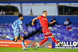 Birmingham City's Marc Roberts clears the ball into touch, under pressure from Tyler Walker of Coventry City  - Mandatory by-line: Nick Browning/JMP - 20/11/2020 - FOOTBALL - St Andrews - Birmingham, England - Coventry City v Birmingham City - Sky Bet Championship