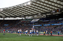 A general view of a lineout during the NatWest 6 Nations match at the Stadio Olimpico, Rome.