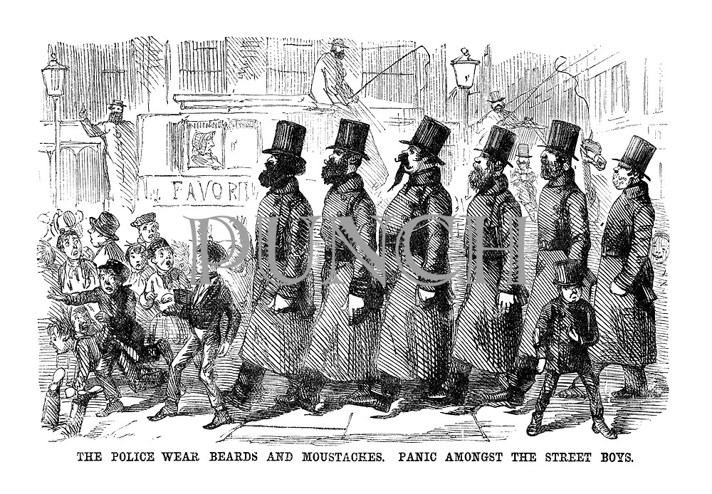 The Police wear beards and moustaches. Panic amonst the street boys.