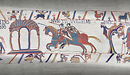 Bayeux Tapestry scene 11 :  Two messengers rush from William to Guy de Ponthieu with orders fro Harolds release. .<br /> <br /> If you prefer you can also buy from our ALAMY PHOTO LIBRARY  Collection visit : https://www.alamy.com/portfolio/paul-williams-funkystock/bayeux-tapestry-medieval-art.html  if you know the scene number you want enter BXY followed bt the scene no into the SEARCH WITHIN GALLERY box  i.e BYX 22 for scene 22)<br /> <br />  Visit our MEDIEVAL ART PHOTO COLLECTIONS for more   photos  to download or buy as prints https://funkystock.photoshelter.com/gallery-collection/Medieval-Middle-Ages-Art-Artefacts-Antiquities-Pictures-Images-of/C0000YpKXiAHnG2k