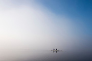 Varese, Lombardia, ITALY, General View, Varese Rowing Club, [Canottieri Varese] Double Scull,  moves into a low cloud of mist, Atmospheric,<br /> <br /> Thursday  22/12/2016 <br /> <br /> [Mandatory Credit; Peter Spurrier/Intersport-images] , Atmospheric, mist, fog, Sunrise, Sunset, Blue Hour,