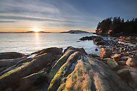 Sunset at Wildcat Cove, looking out to Samish Bay and the San Juan Islands, Larrabee State Park Washington