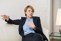 03 SEP 2018, BERLIN/GERMANY:<br /> Elke Buedenbender, Juristin und Gattin des Bundespraesidenten, wahrend einem Interview, in Ihrem Buero, Schloss Bellevue<br /> IMAGE: 20180903-01-015<br /> KEYWORDS: Elke Büdenbender, First Lady