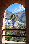 City of Chefchaouen with mountains, Morocco.