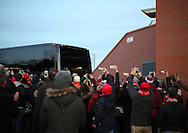 Liverpool's fans take photos on their phones on the team bus arriving during the Premier League match at Anfield Stadium, Liverpool. Picture date December 27th, 2016 Pic David Klein/Sportimage