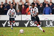 Nana Owusu of Maidenhead United on the attack during the The FA Cup 1st round match between Maidenhead United and Portsmouth at York Road, Maidenhead, United Kingdom on 10 November 2018.