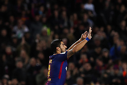 January 28, 2018 - Barcelona, Catalonia, Spain - January 28, 2017 - Camp Nou, Barcelona, Spain - LaLiga Santander- FC Barcelona v Deportivo Alaves; Luis Suarez of FC Barcelona celebrates the 1-1. (Credit Image: © Eric Alonso via ZUMA Wire)