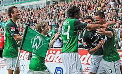28.08.2010, Weserstadion, Bremen, GER, 1. FBL, Werder Bremen vs 1. FC Köln / Koeln, im Bild Jubel bei Philipp Bargfrede (Bremen #44), Marko Marin (Bremen #10), Claudio Pizarro (Bremen #24), Sebastian Boenisch (Bremen #2) und dem Torschuetzen Marko Arnautovic (Bremen #7, rechts)   EXPA Pictures © 2010, PhotoCredit: EXPA/ nph/  Frisch+++++ ATTENTION - OUT OF GER +++++ / SPORTIDA PHOTO AGENCY