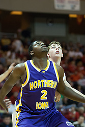 14 October 2006: Eric Coleman blocks out Michael Vandello and awaits a rebound from a free throw.....In a game that involved both coaches as much as the players, the Northern Iowa Panthers plucked the Illinois State University Redbirds in a Missouri Valley Conference game by a score of 67 - 52. Competition took place at Redbird Arena in Normal Illinois