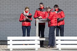 Meurrens Inge, Van Tricht Tim, Van den Broeck Herman, De Smet Stefan<br /> Hengstenkeuring BWP- Azelhof - Lier  2021<br /> <br /> © Hippo Foto - Dirk Caremans<br /> 12/04/2021