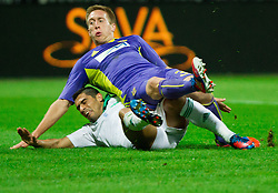 Nikos Spyropoulos of Panathinaikos vs Robert Beric of NK Maribor when he scores during football match between NK Maribor and Panathinaikos Athens F.C. (GRE) in 1st Round of Group Stage of UEFA Europa league 2013, on September 20, 2012 in Stadium Ljudski vrt, Maribor, Slovenia. (Photo By Vid Ponikvar / Sportida)
