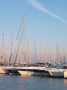Yachts moored in the small, coastal town of Talamone on the Mediterranean Sea in Tuscany, Italy