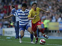Photo: Lee Earle.<br /> Reading v Watford. The Barclays Premiership. 05/05/2007.Reading's Soel Ki-Hyeon (L) battles with Watford's Tommy Smith.