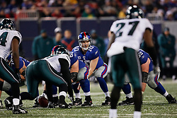 New York Giants quarterback Eli Manning #10 takes a snap during the NFL game between the Philadelphia Eagles and the New York Giants on December 13th 2009. The Eagles won 45-38 at Giants Stadium in East Rutherford, New Jersey. (Photo By Brian Garfinkel)