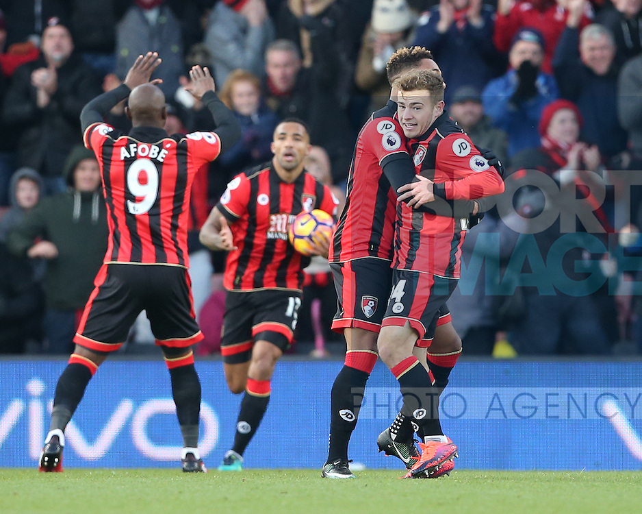 Bournemouth's Ryan Fraser celebrates scoring his sides second goal during the Premier League match at the Vitality Stadium, London. Picture date December 4th, 2016 Pic David Klein/Sportimage