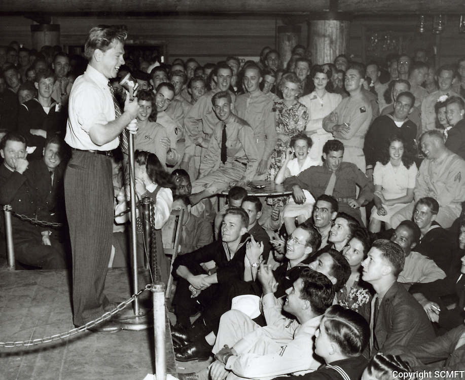 1944 Mickey Rooney performs for the servicemen at the Hollywood Canteen