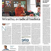 """Tearsheet of """"Burma radical buddhist monk"""" published in Expresso"""