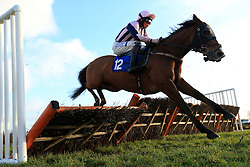 Conor Shoemark riding Moss Street during 32Red Casino Handicap Hurdle in during County Raceday at Market Rasen
