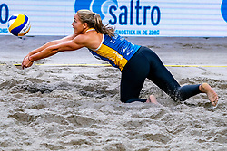 Emi van Driel in action during the second day of the beach volleyball event King of the Court at Jaarbeursplein on September 10, 2020 in Utrecht.