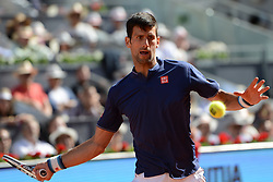 May 13, 2017 - Madrid, Spain - NOVAK DJOKOVIC of Serbia in his semifinal match v. R. Nadal in the Mutua Madrid Open tennis tournament. (Credit Image: © Christopher Levy via ZUMA Wire)