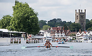 Henley-on-Thames. United Kingdom.  2017 Henley Royal Regatta, Henley Reach, River Thames. <br /> Women's Four. New York Athletic Club. Bow Olivia COFFEY, Kerry SIMMONDS Susan FRANCIA and Felice MUELLER<br /> 10:41:36  Friday  30/06/2017<br /> <br /> [Mandatory Credit. Intersport Images}.
