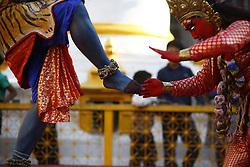 April 14, 2018 - Kathmandu, Nepal - Artists dressed as Deities perform during Itumbahal festival, a celebration held to mark the Nepalese New Year in Kathmandu, Nepal on Saturday, April 14, 2018. (Credit Image: © Skanda Gautam via ZUMA Wire)