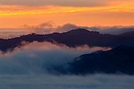 Fog at sunset over San Francisco Bay, California