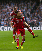 02.10.2013 Manchester, England.  Bayern Munich goalscorer Franck Ribery celebrates making it 1-0  during the Group D UEFA Champions League game between, Manchester City and Bayern Munich from the Etihad Stadium.