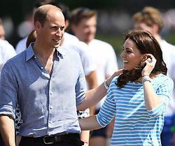 The Duke and Duchess of Cambridge take part in a rowing race in Heidelberg, Germany, on the 20th July 2017. 20 Jul 2017 Pictured: Prince William, Duke of Cambridge, Catherine, Duchess of Cambridge, Kate Middleton. Photo credit: James Whatling / MEGA TheMegaAgency.com +1 888 505 6342