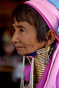 DEMOSO, April 11, 2016 (Xinhua) -- <br /> <br /> A Padaung woman with brass rings around her neck sits at her gift shop in Panpet village, Demoso township, Kayah state, Myanmar, April 11, 2016. The brass rings are first applied when the Padaung girls are about eight years old and as the girl grows older, longer coils are added up to 24 or 25 rings. <br /> ©Exclusivepix Media