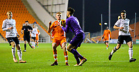 Derby County's Bradley Foster-Theniger claims the ball before Blackpool's Owen Watkinson can reach it<br /> <br /> Photographer Alex Dodd/CameraSport<br /> <br /> The FA Youth Cup Third Round - Blackpool U18 v Derby County U18 - Tuesday 4th December 2018 - Bloomfield Road - Blackpool<br />  <br /> World Copyright © 2018 CameraSport. All rights reserved. 43 Linden Ave. Countesthorpe. Leicester. England. LE8 5PG - Tel: +44 (0) 116 277 4147 - admin@camerasport.com - www.camerasport.com