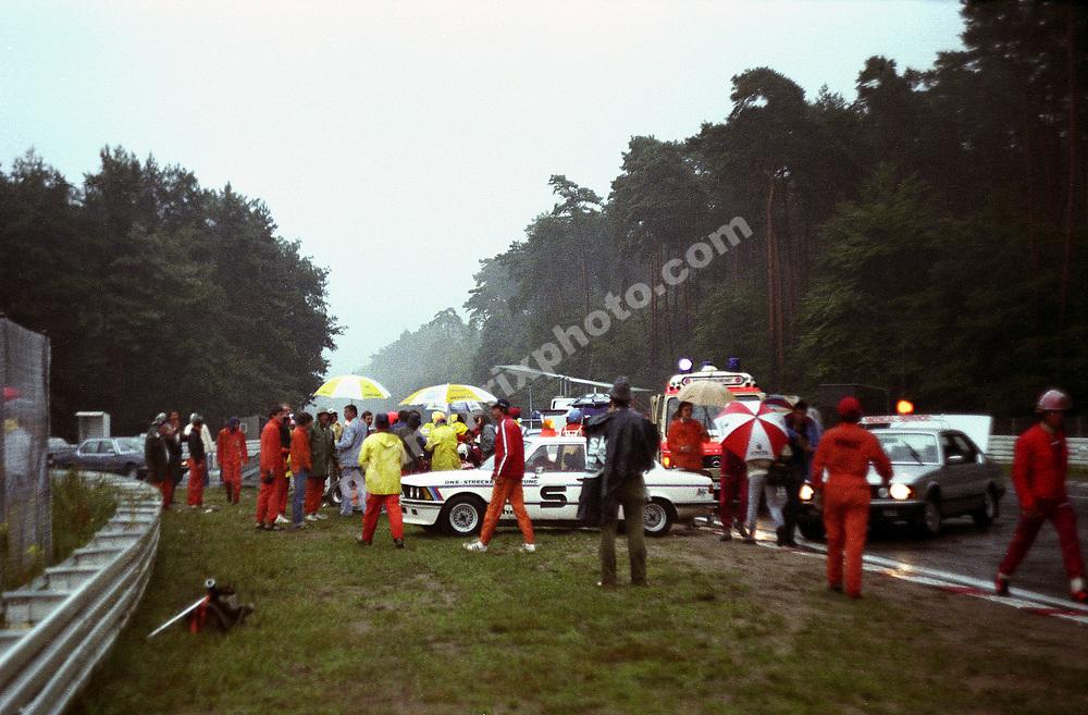 The scene of Ferrari driver Didier Pironi´s accident during practice for the 1982 German Grand Prix at Hockenheim. Photo: Grand Prix Photo.