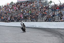Hobo Billy Applegate after winning the race on Cyclemos number 22 Model J 61 ci 1924 Harley-Davidson at the Sons of Speed Vintage Motorcycle Races at New Smyrina Speedway. New Smyrna Beach, USA. Saturday, March 9, 2019. Photography ©2019 Michael Lichter.