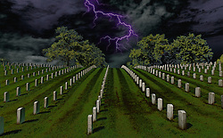 A spooky take with dramatic skies at Jefferson Barracks National Cemetery