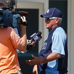 February 18, 2011; Port Charlotte, FL, USA; Tampa Bay Rays manager Joe Maddon talks to the media following a spring training practice at Charlotte Sports Park.  Mandatory Credit: Derick E. Hingle