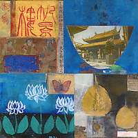 """Colorful and textural rough hewn asian themed mixed media collage with a good fortune.<br /> :::::::::<br /> """"I suppose I shall sound terrible defensive if I say that Westerners attempt to expose every speck of grime and eradicate it, while we Orientals carefully preserve and even idealize it. Yet for better or for worse we do love things that bear the mars of grime, soot, and weather, and we love the colors and the sheen that call to mind the past that made them. Living in these old houses among these old objects is in some mysterious way a source of peace and repose.""""<br /> Junichiro Tanizaki"""