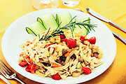 first course,<br /> tagliatelle with vegetables, <br /> decorative rosemary